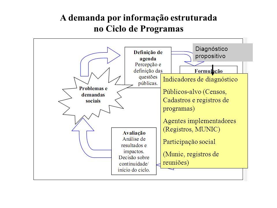Diagnóstico propositivo A demanda por informação estruturada no Ciclo de Programas Indicadores de diagnóstico Públicos-alvo (Censos, Cadastros e regis