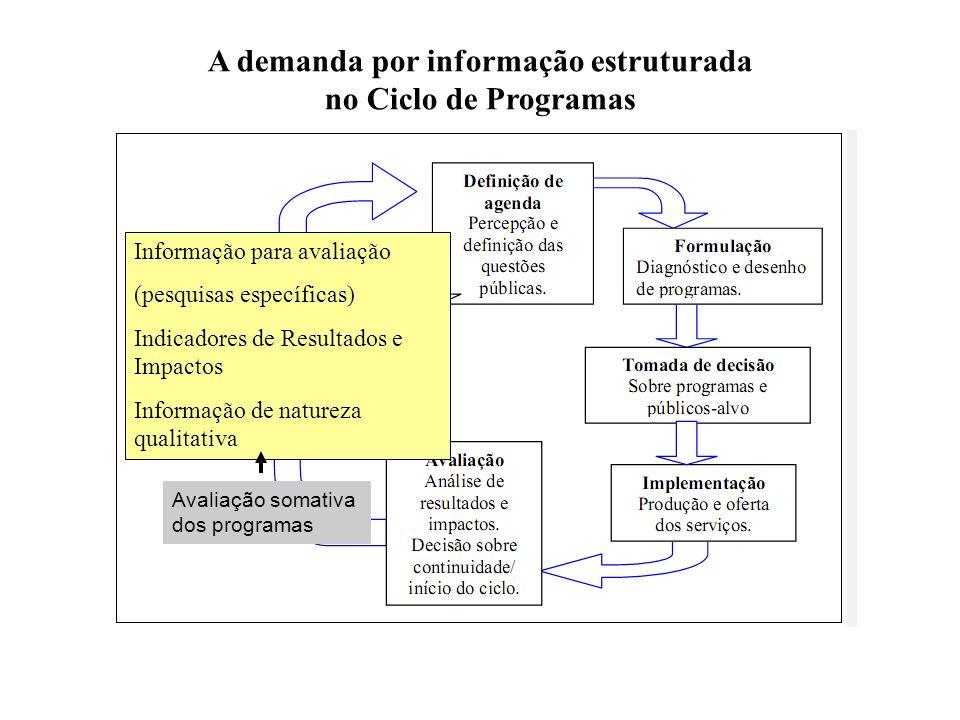 Avaliação somativa dos programas A demanda por informação estruturada no Ciclo de Programas Informação para avaliação (pesquisas específicas) Indicado