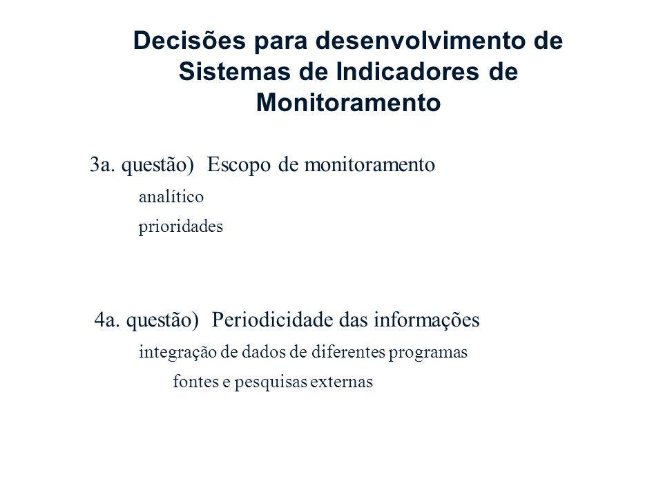 3a. questão) Escopo de monitoramento analítico prioridades 4a. questão) Periodicidade das informações integração de dados de diferentes programas font