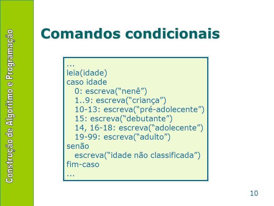10 Comandos condicionais... leia(idade) caso idade 0: escreva(nenê) 1..9: escreva(criança) 10-13: escreva(pré-adolecente) 15: escreva(debutante) 14, 1