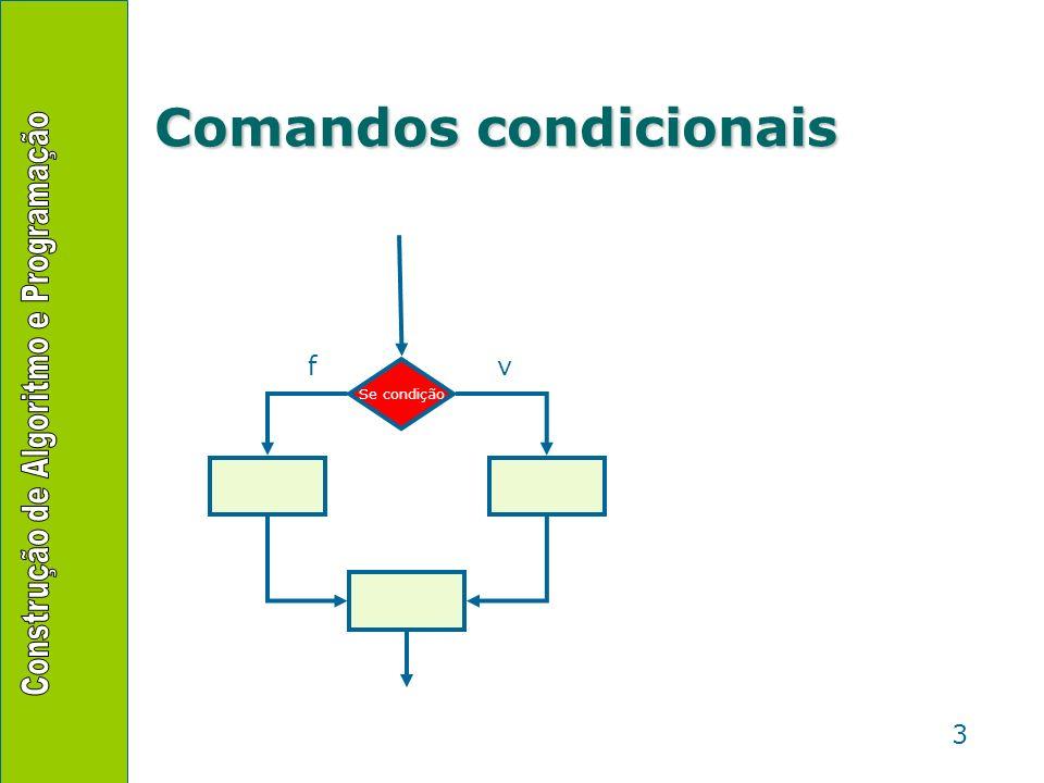 4 Comandos condicionais algoritmo bolas { determina, a partir da cor da bola qual a posição do retânguilo} declare cor: literal posicao: inteiro início { leitura da cor da bola } leia(cor) { verificação } se cor = vermelha então posicao 0 senão posicao 1 fim-se { saída } desenhe_retangulo(posicao) fim
