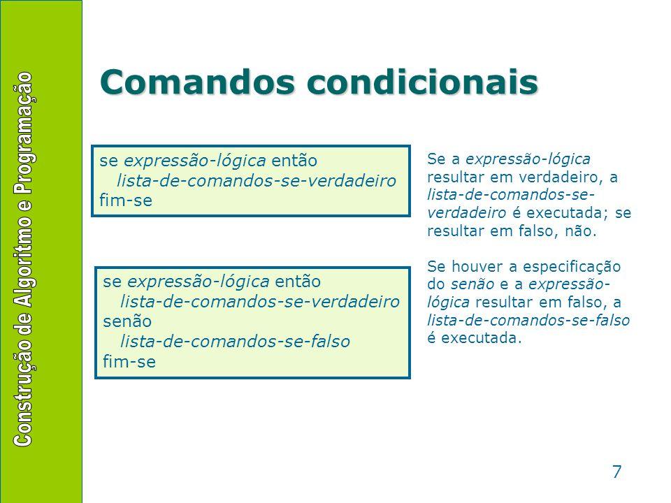 8 Comandos condicionais Aninhamento de comandosAninhamento de comandos –Os comandos internos de um comando condicional podem ser Leituras Escritas Outros comandos condicionais Ou seja, qualquer comando se expressão-lógica-1 então comando_1 comando_2 se expressão-lógica-2 então comando_3 fim-se senão se expressão-lógica-3 então se expressão-lógica-4 então comando_4 fim-se senão comando_5 fim-se