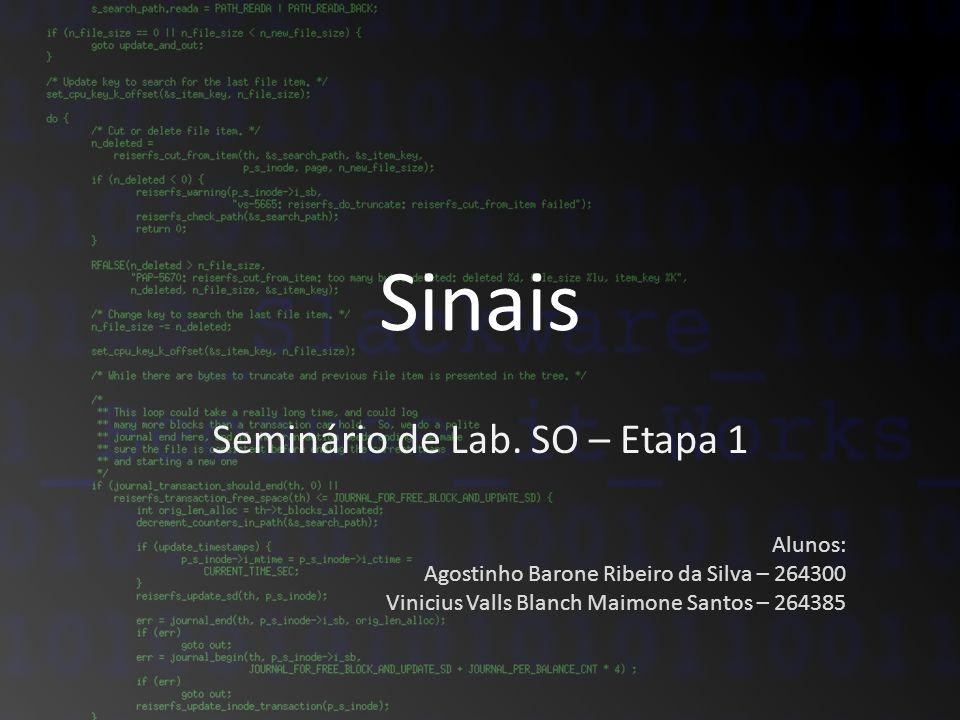 Sinais Seminário de Lab. SO – Etapa 1 Alunos: Agostinho Barone Ribeiro da Silva – 264300 Vinicius Valls Blanch Maimone Santos – 264385