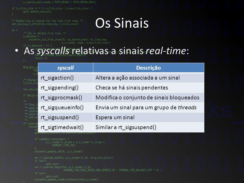 Os Sinais As syscalls relativas a sinais real-time: syscallDescrição rt_sigaction()Altera a ação associada a um sinal rt_sigpending()Checa se há sinai
