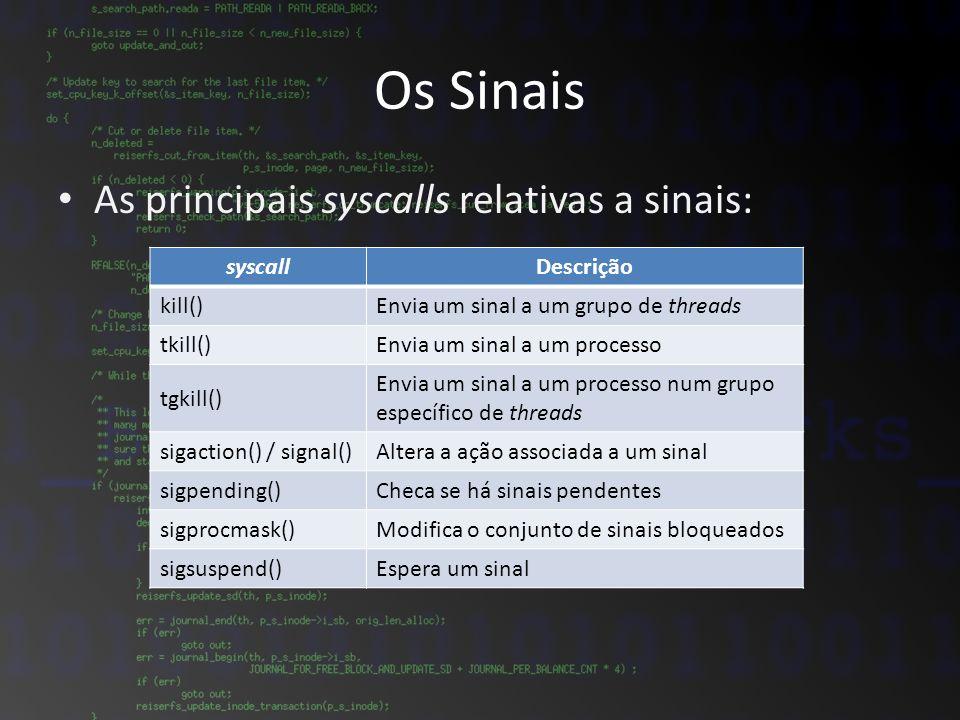 Os Sinais As principais syscalls relativas a sinais: syscallDescrição kill()Envia um sinal a um grupo de threads tkill()Envia um sinal a um processo t