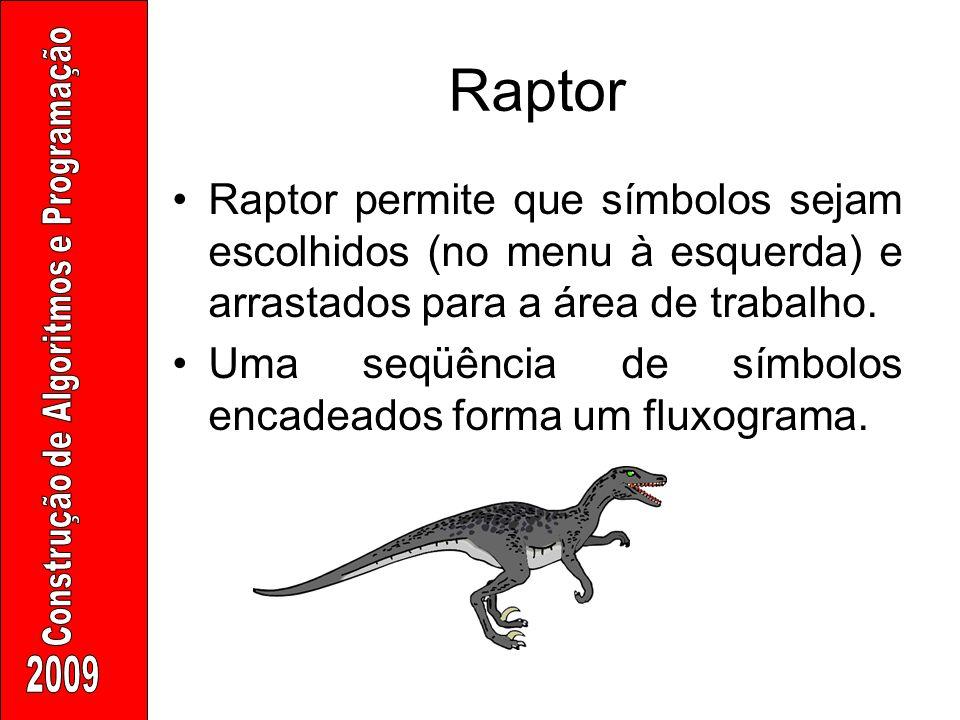 Raptor Raptor permite que símbolos sejam escolhidos (no menu à esquerda) e arrastados para a área de trabalho.