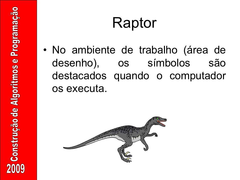 Raptor No ambiente de trabalho (área de desenho), os símbolos são destacados quando o computador os executa.
