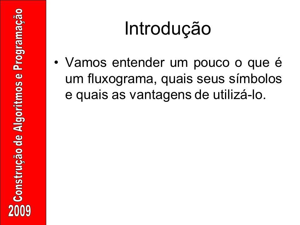 Introdução Vamos entender um pouco o que é um fluxograma, quais seus símbolos e quais as vantagens de utilizá-lo.