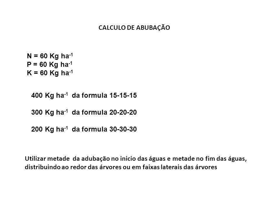 CALCULO DE ABUBAÇÃO N = 60 Kg ha -1 P = 60 Kg ha -1 K = 60 Kg ha -1 400 Kg ha -1 da formula 15-15-15 300 Kg ha -1 da formula 20-20-20 200 Kg ha -1 da