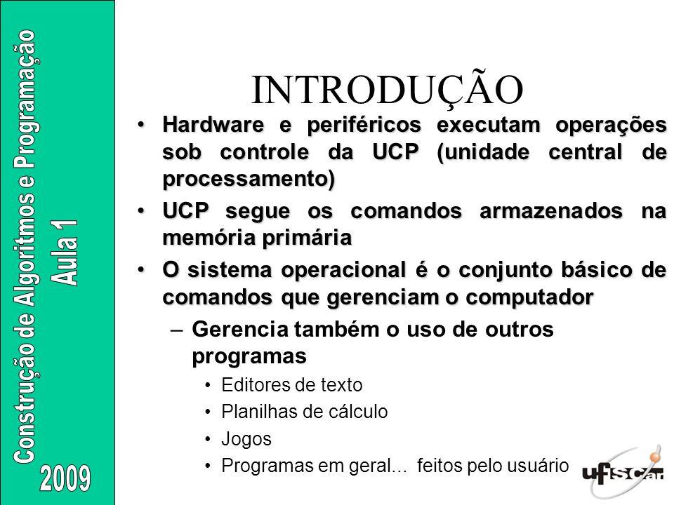 INTRODUÇÃO Hardware e periféricos executam operações sob controle da UCP (unidade central de processamento)Hardware e periféricos executam operações s
