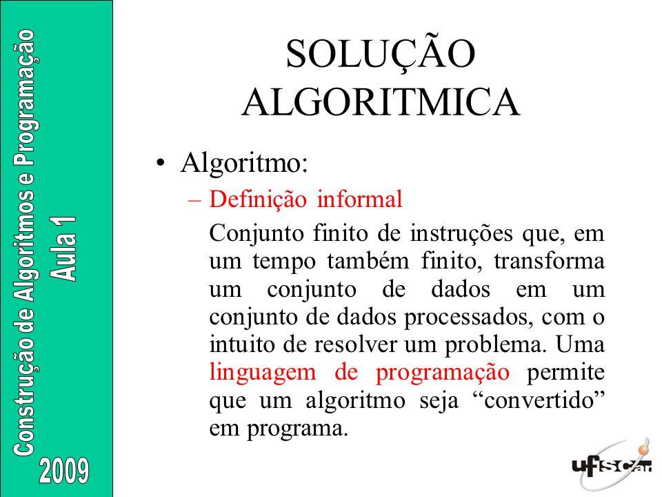 Algoritmo: –Definição informal Conjunto finito de instruções que, em um tempo também finito, transforma um conjunto de dados em um conjunto de dados p