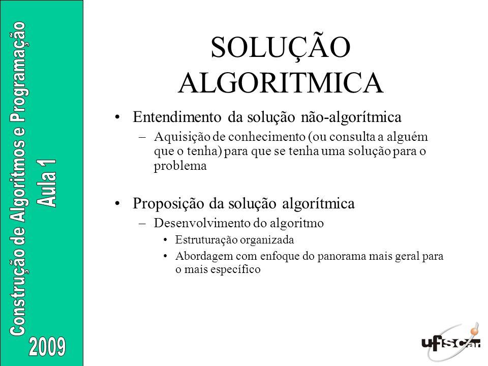 SOLUÇÃO ALGORITMICA Entendimento da solução não-algorítmica –Aquisição de conhecimento (ou consulta a alguém que o tenha) para que se tenha uma soluçã