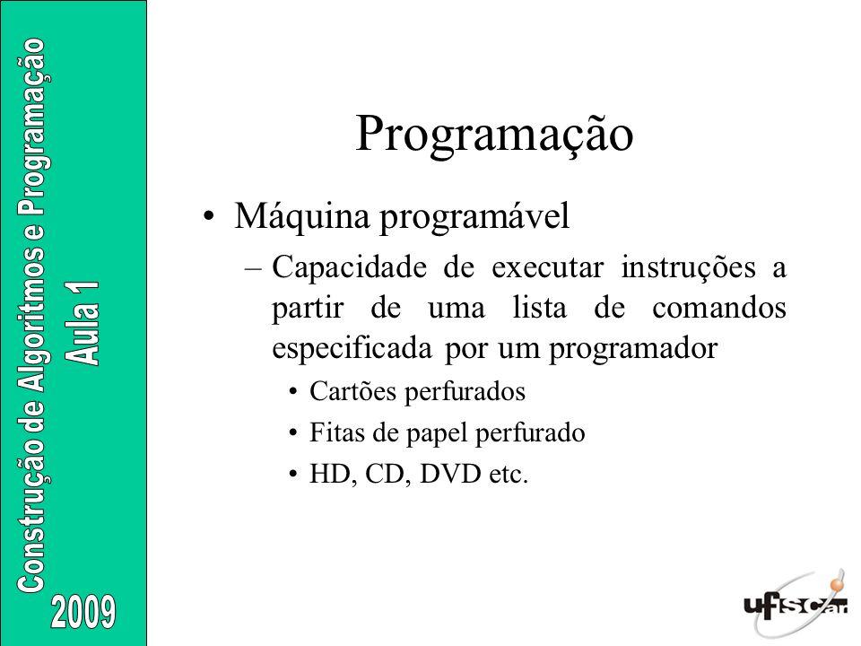 Programação Máquina programável –Capacidade de executar instruções a partir de uma lista de comandos especificada por um programador Cartões perfurado