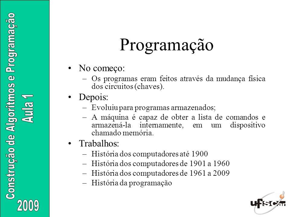 Programação No começo: –Os programas eram feitos através da mudança física dos circuitos (chaves). Depois: –Evoluiu para programas armazenados; –A máq
