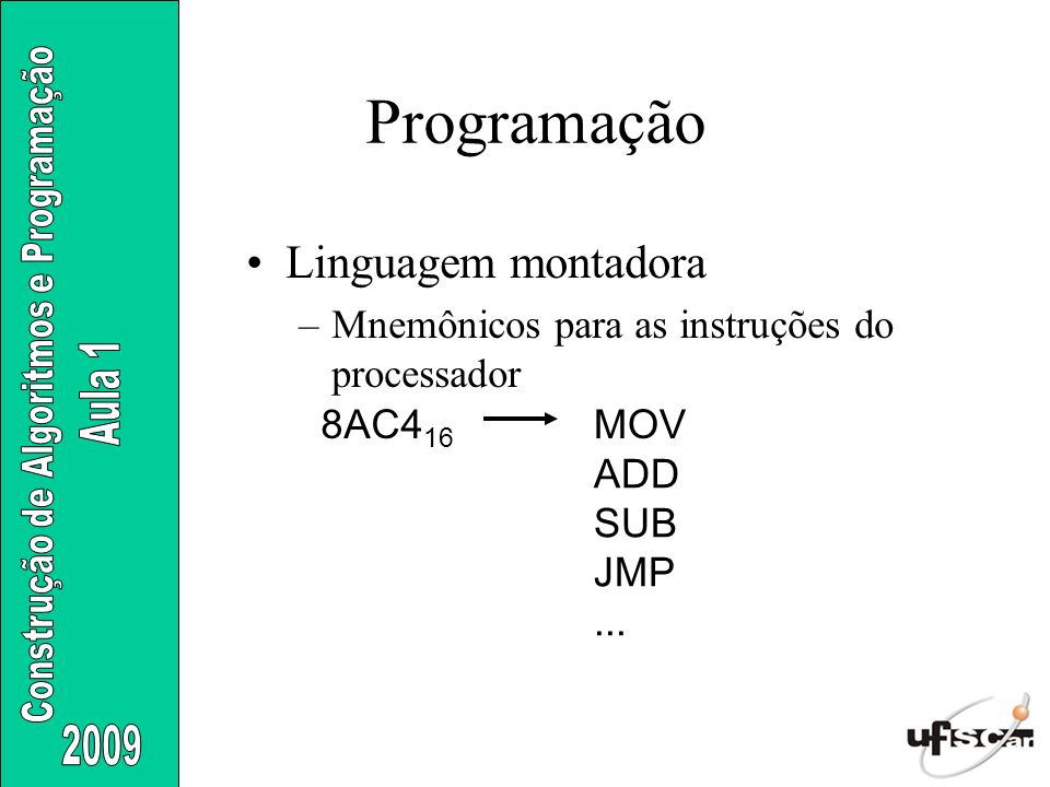 Linguagem montadora –Mnemônicos para as instruções do processador 8AC4 16 MOV ADD SUB JMP... Programação
