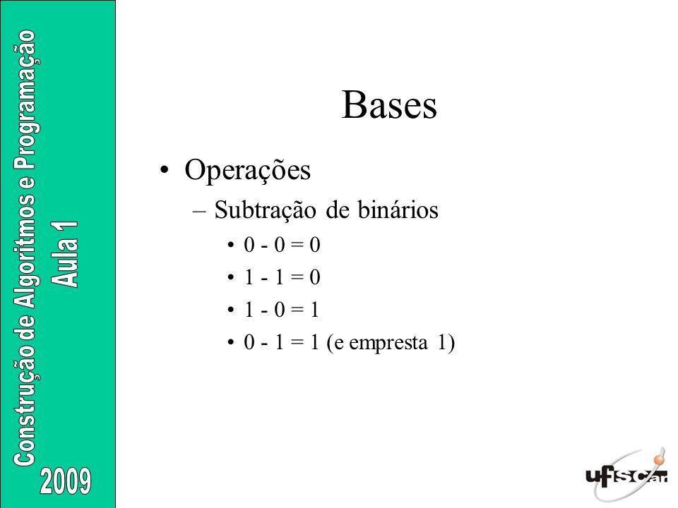 Operações –Subtração de binários 0 - 0 = 0 1 - 1 = 0 1 - 0 = 1 0 - 1 = 1 (e empresta 1) Bases