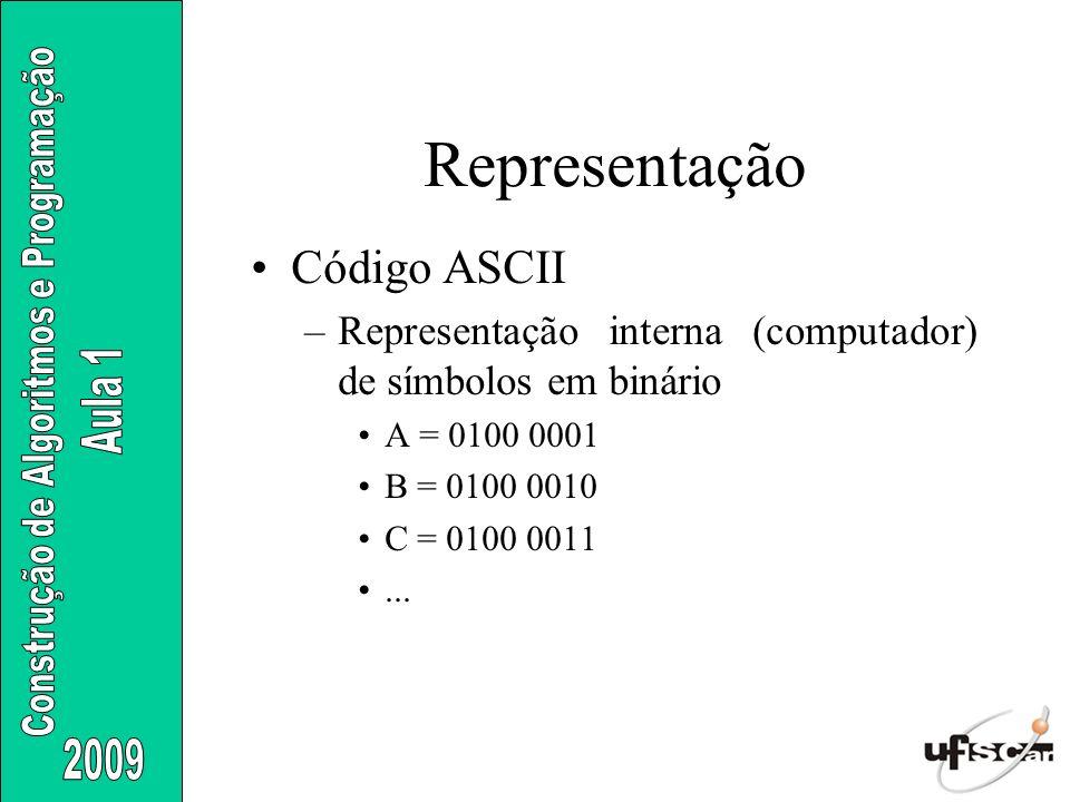 Código ASCII –Representação interna (computador) de símbolos em binário A = 0100 0001 B = 0100 0010 C = 0100 0011... Representação