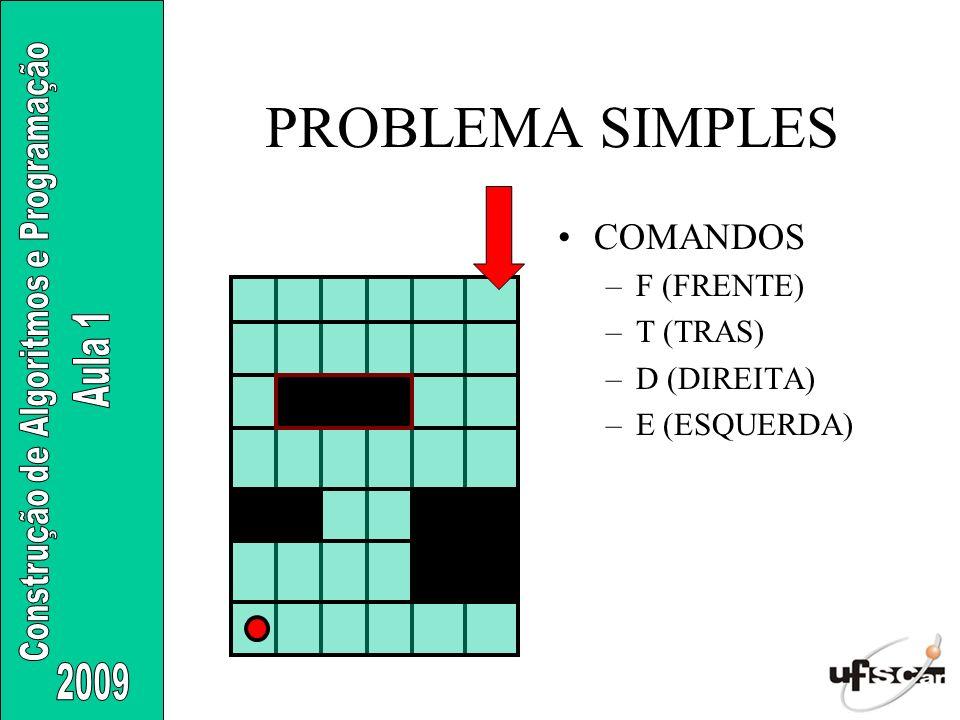 PROBLEMA SIMPLES COMANDOS –F (FRENTE) –T (TRAS) –D (DIREITA) –E (ESQUERDA)