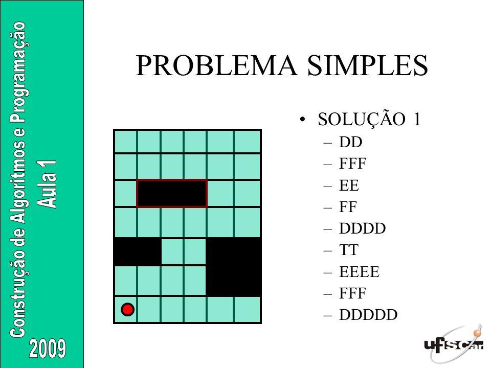 PROBLEMA SIMPLES SOLUÇÃO 1 –DD –FFF –EE –FF –DDDD –TT –EEEE –FFF –DDDDD