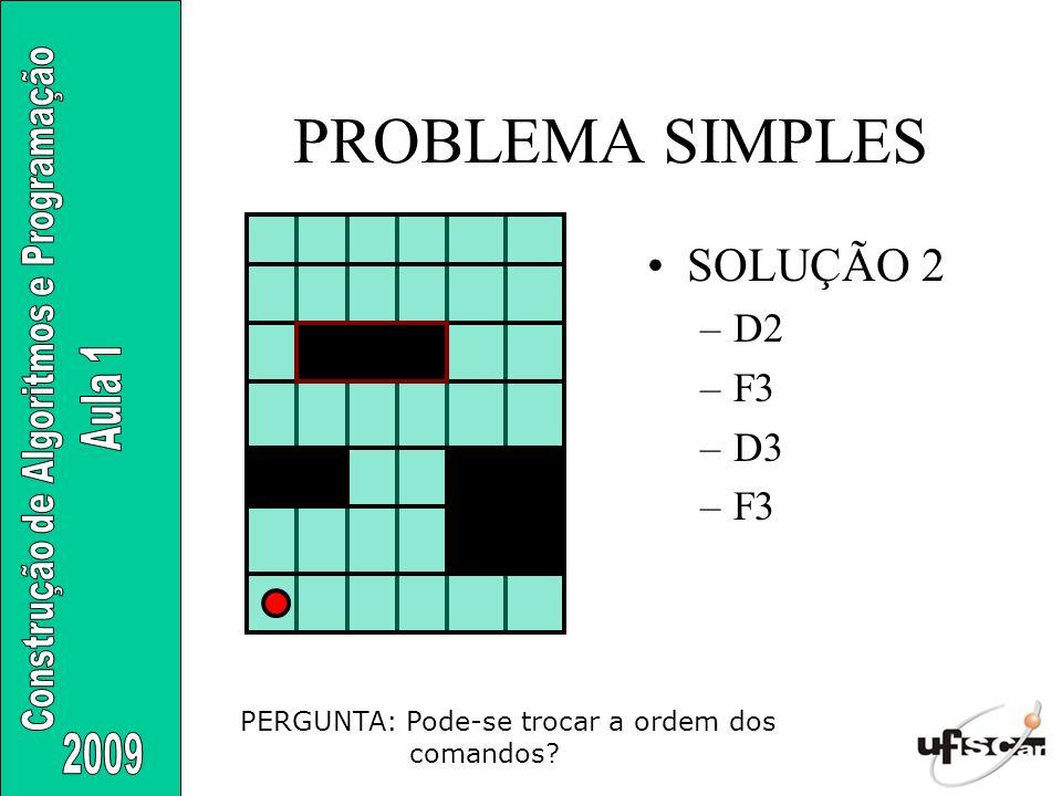 PROBLEMA SIMPLES SOLUÇÃO 2 –D2 –F3 –D3 –F3 PERGUNTA: Pode-se trocar a ordem dos comandos?
