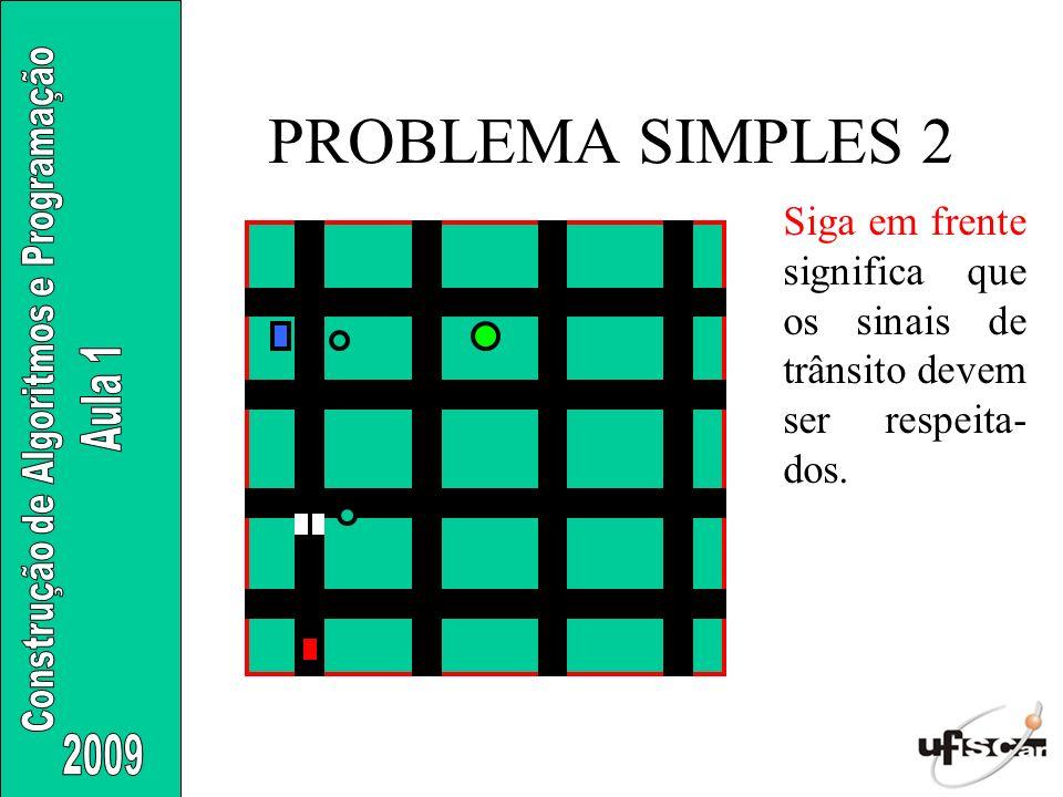PROBLEMA SIMPLES 2 Siga em frente significa que os sinais de trânsito devem ser respeita- dos.