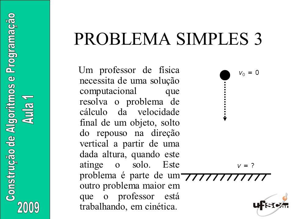 PROBLEMA SIMPLES 3 Um professor de física necessita de uma solução computacional que resolva o problema de cálculo da velocidade final de um objeto, s
