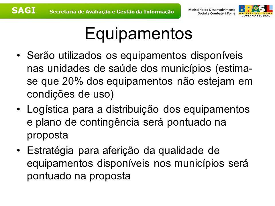 SAGI Secretaria de Avaliação e Gestão da Informação Equipamentos Serão utilizados os equipamentos disponíveis nas unidades de saúde dos municípios (es