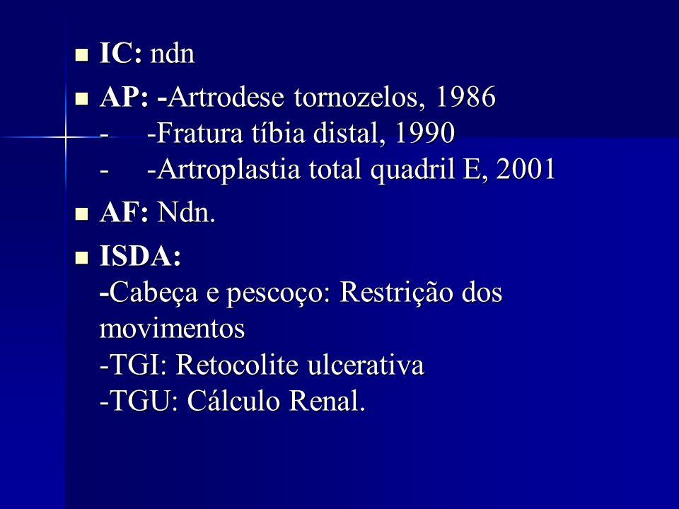 IC: ndn IC: ndn AP: -Artrodese tornozelos, 1986 - -Fratura tíbia distal, 1990 - -Artroplastia total quadril E, 2001 AP: -Artrodese tornozelos, 1986 -