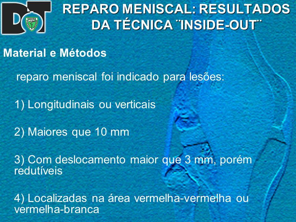 REPARO MENISCAL: RESULTADOS DA TÉCNICA ¨INSIDE-OUT¨ Material e Métodos reparo meniscal foi indicado para lesões: 1) Longitudinais ou verticais 2) Maio