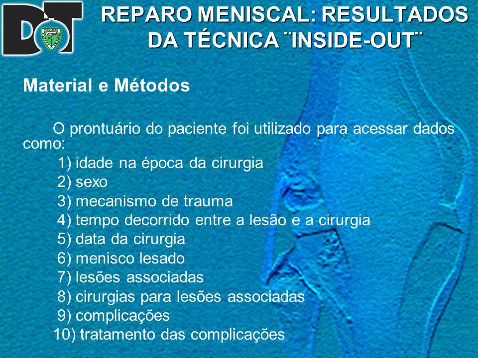 REPARO MENISCAL: RESULTADOS DA TÉCNICA ¨INSIDE-OUT¨ Material e Métodos O prontuário do paciente foi utilizado para acessar dados como: 1) idade na épo