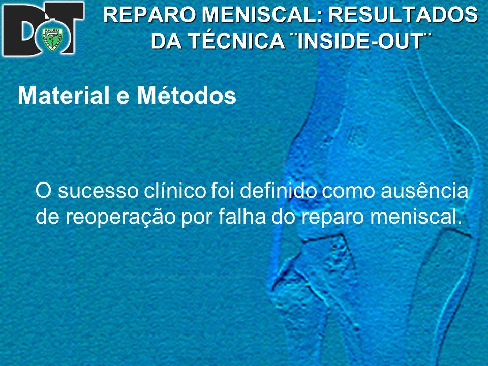 REPARO MENISCAL: RESULTADOS DA TÉCNICA ¨INSIDE-OUT¨ Material e Métodos O sucesso clínico foi definido como ausência de reoperação por falha do reparo