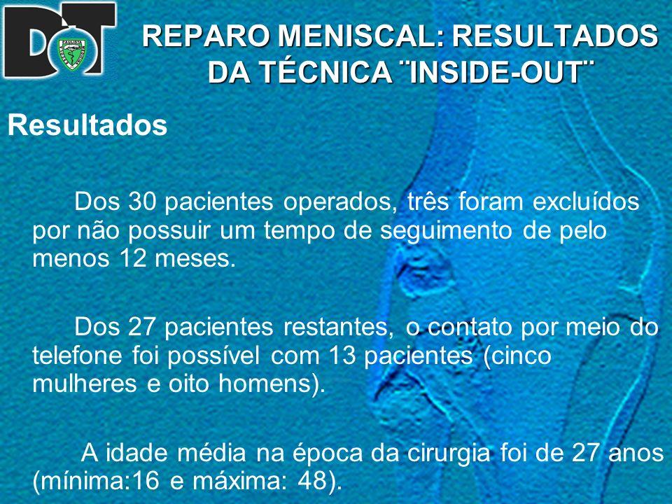 REPARO MENISCAL: RESULTADOS DA TÉCNICA ¨INSIDE-OUT¨ Resultados Dos 30 pacientes operados, três foram excluídos por não possuir um tempo de seguimento