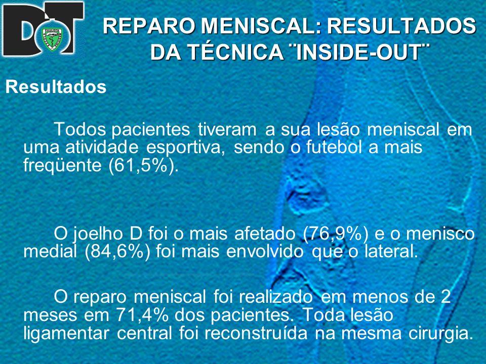 REPARO MENISCAL: RESULTADOS DA TÉCNICA ¨INSIDE-OUT¨ Resultados Todos pacientes tiveram a sua lesão meniscal em uma atividade esportiva, sendo o futebo