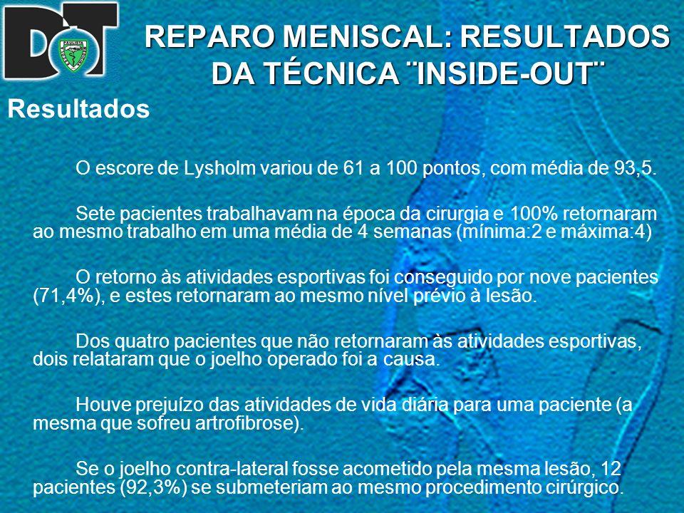 REPARO MENISCAL: RESULTADOS DA TÉCNICA ¨INSIDE-OUT¨ Resultados O escore de Lysholm variou de 61 a 100 pontos, com média de 93,5. Sete pacientes trabal