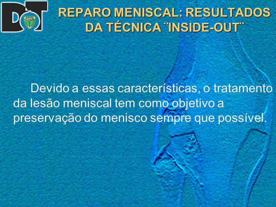 REPARO MENISCAL: RESULTADOS DA TÉCNICA ¨INSIDE-OUT¨ Resultados Complicações A artrofibrose ocorreu em uma paciente, que foi tratada com manipulação anestésica.