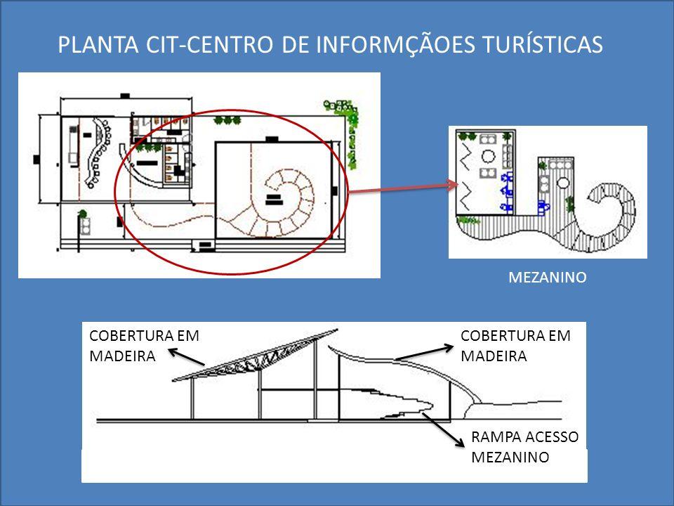 PLANTA CIT-CENTRO DE INFORMÇÃOES TURÍSTICAS COBERTURA EM MADEIRA RAMPA ACESSO MEZANINO COBERTURA EM MADEIRA MEZANINO