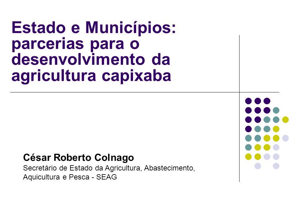 Estado e Municípios: parcerias para o desenvolvimento da agricultura capixaba César Roberto Colnago Secretário de Estado da Agricultura, Abastecimento