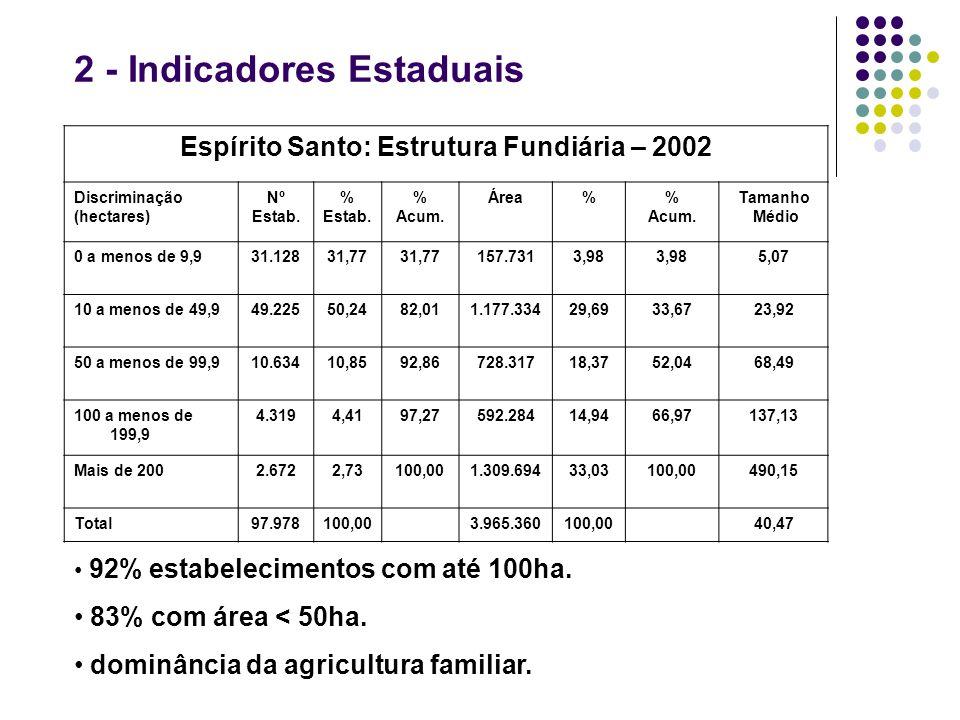 2 - Indicadores Estaduais Espírito Santo: Estrutura Fundiária – 2002 Discriminação (hectares) Nº Estab. % Estab. % Acum. Área% Acum. Tamanho Médio 0 a
