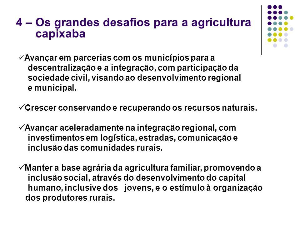 4 – Os grandes desafios para a agricultura capixaba Avançar em parcerias com os municípios para a descentralização e a integração, com participação da