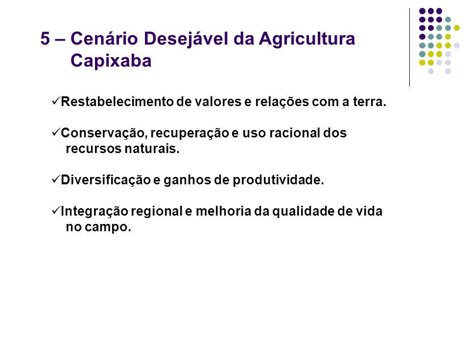 5 – Cenário Desejável da Agricultura Capixaba Restabelecimento de valores e relações com a terra. Conservação, recuperação e uso racional dos recursos