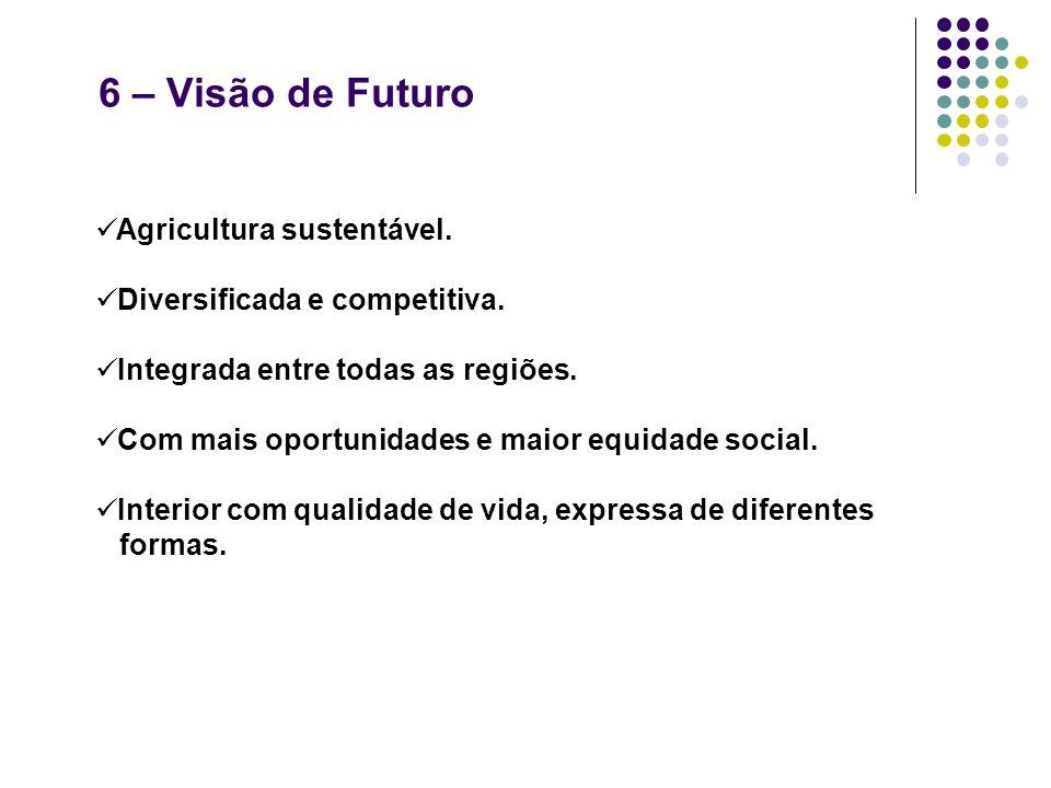 6 – Visão de Futuro Agricultura sustentável. Diversificada e competitiva. Integrada entre todas as regiões. Com mais oportunidades e maior equidade so