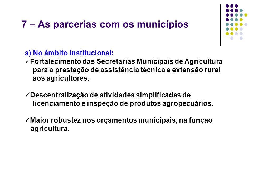 7 – As parcerias com os municípios a) No âmbito institucional: Fortalecimento das Secretarias Municipais de Agricultura para a prestação de assistênci