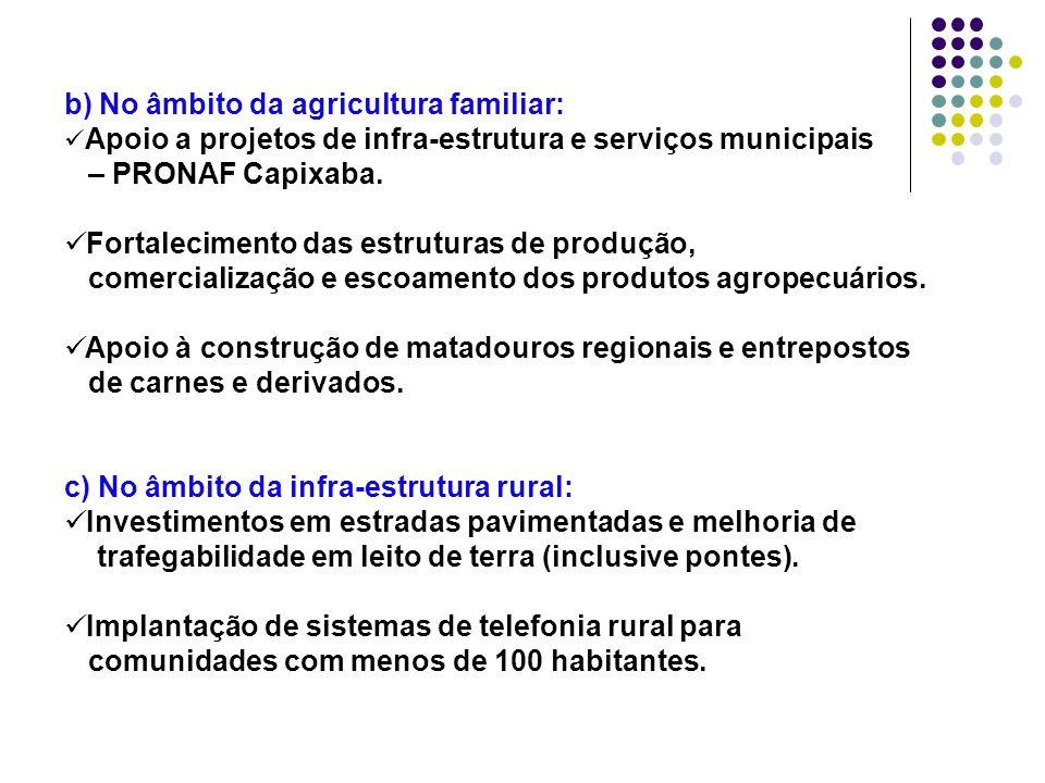 b) No âmbito da agricultura familiar: Apoio a projetos de infra-estrutura e serviços municipais – PRONAF Capixaba. Fortalecimento das estruturas de pr