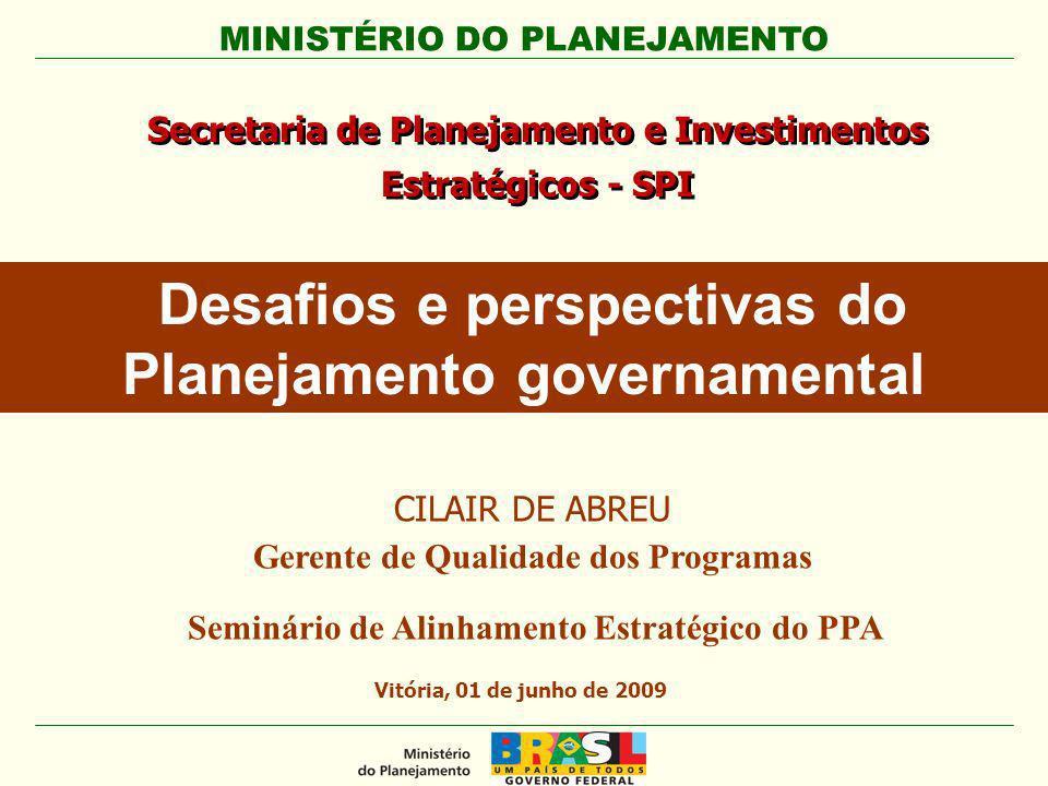 MINISTÉRIO DO PLANEJAMENTO Secretaria de Planejamento e Investimentos Estratégicos - SPI Vitória, 01 de junho de 2009 Desafios e perspectivas do Plane