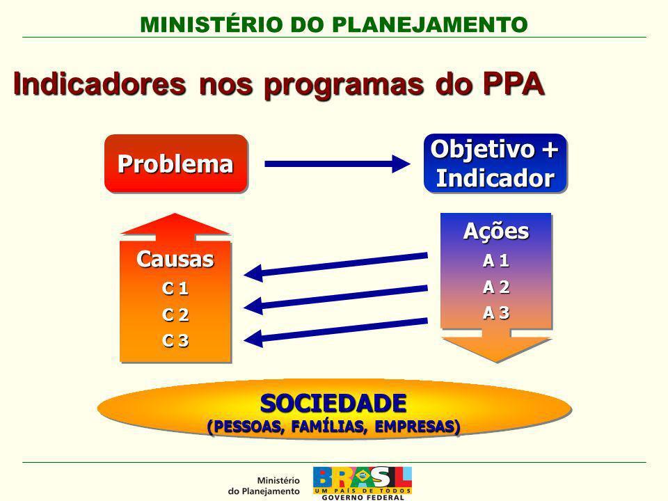 MINISTÉRIO DO PLANEJAMENTO ProblemaProblema Objetivo + Indicador Causas C 1 C 2 C 3 Causas C 1 C 2 C 3 SOCIEDADE (PESSOAS, FAMÍLIAS, EMPRESAS) SOCIEDADE Ações A 1 A 2 A 3 Ações A 1 A 2 A 3 Indicadores nos programas do PPA