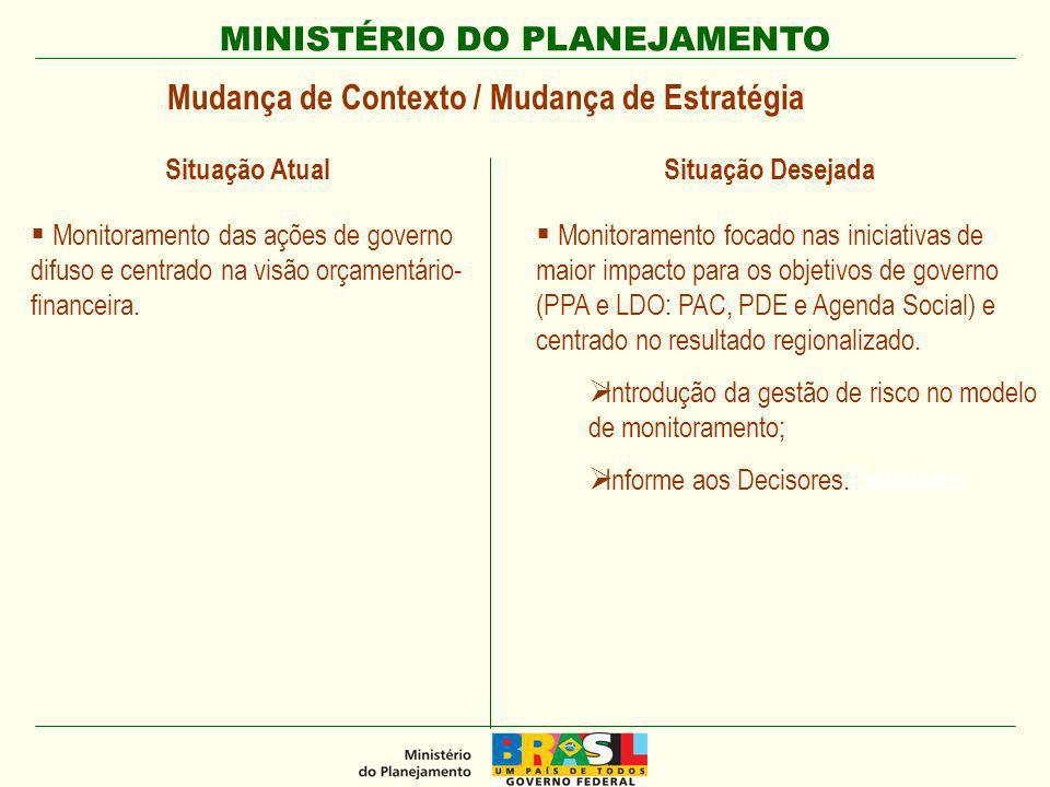 MINISTÉRIO DO PLANEJAMENTO Mudança de Contexto / Mudança de Estratégia Monitoramento das ações de governo difuso e centrado na visão orçamentário- financeira.