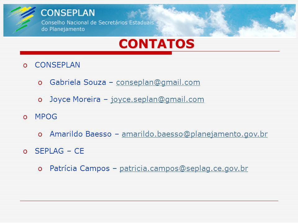 CONTATOS oCONSEPLAN oGabriela Souza – conseplan@gmail.comconseplan@gmail.com oJoyce Moreira – joyce.seplan@gmail.comjoyce.seplan@gmail.com oMPOG oAmar