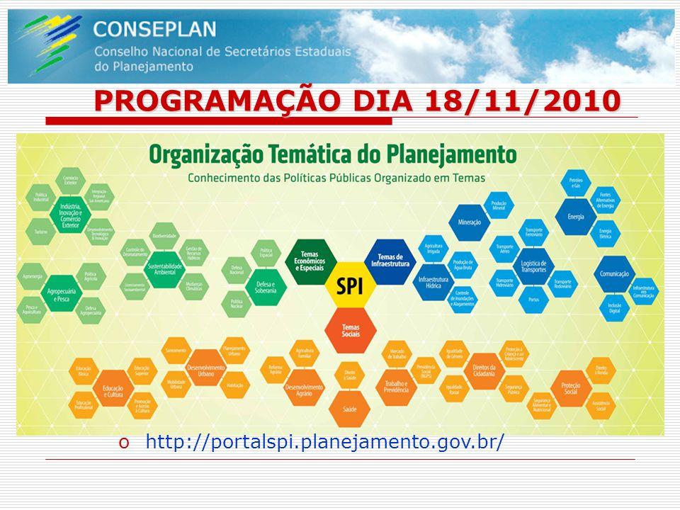 PROGRAMAÇÃO DIA 18/11/2010 ohttp://portalspi.planejamento.gov.br/