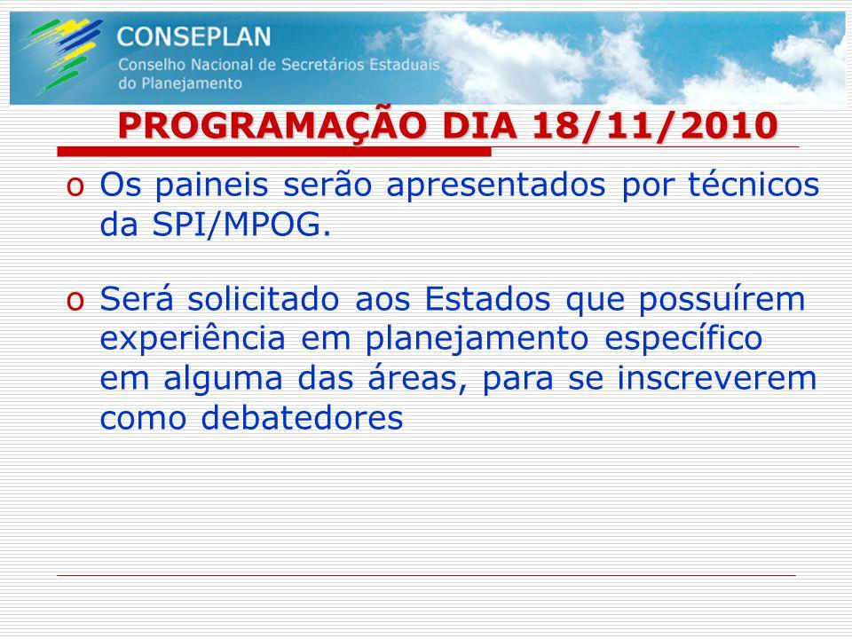 PROGRAMAÇÃO DIA 18/11/2010 oOs paineis serão apresentados por técnicos da SPI/MPOG. oSerá solicitado aos Estados que possuírem experiência em planejam