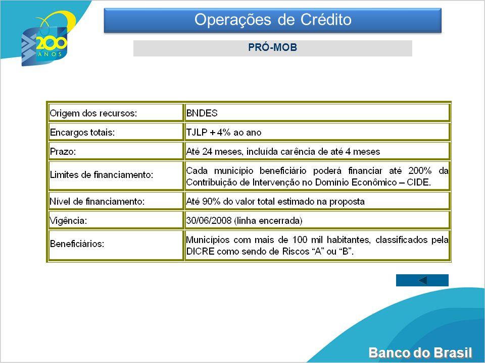 Banco do Brasil Operações de Crédito PRÓ-MOB